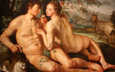 the fall of man with a kitten and a goat forest garden of eden [phistars.com] painting 5 stars